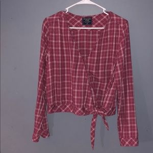 Cute cropped plaid long sleeve